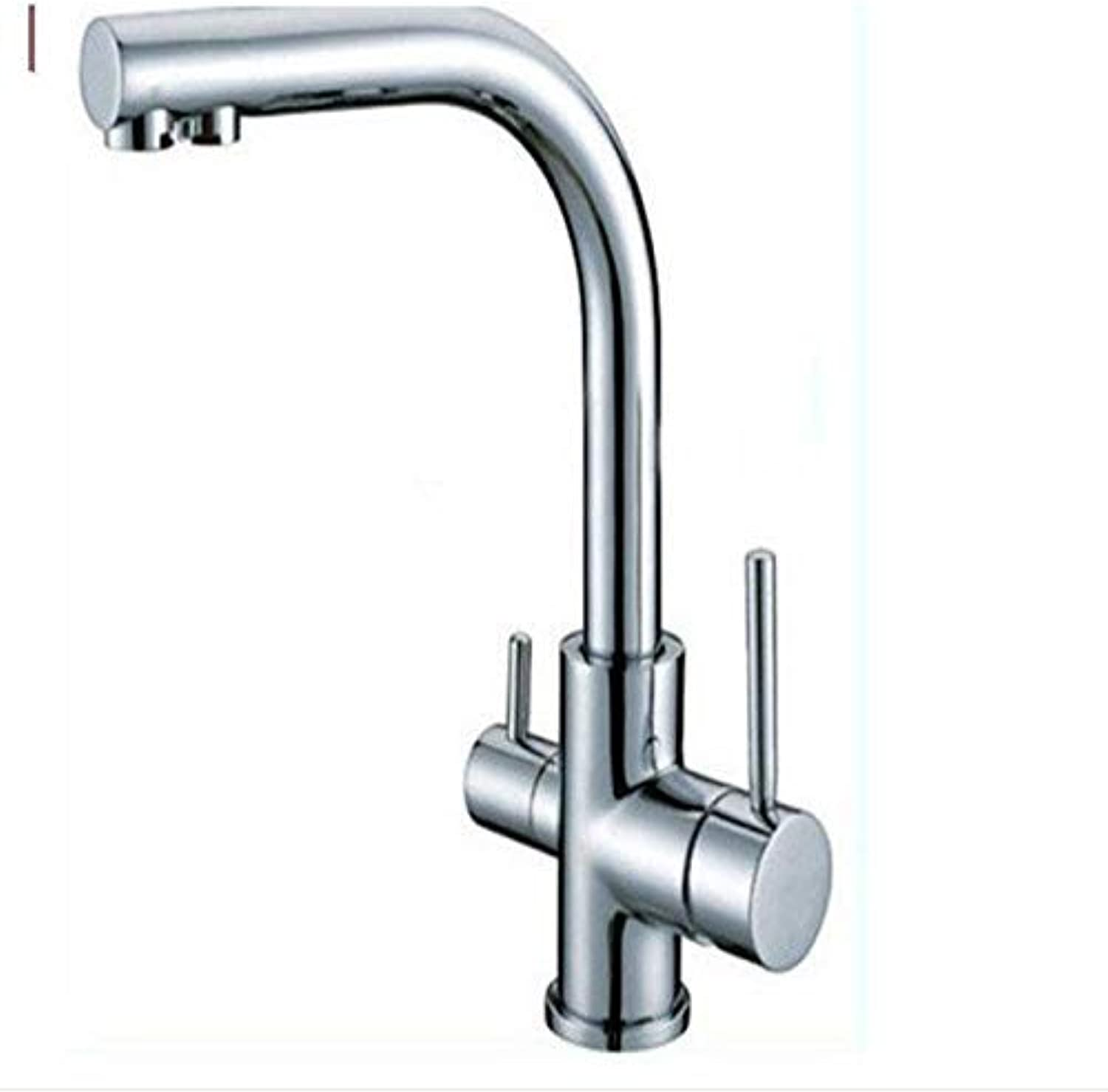 Oudan Wholesale and Retail Modern Double Handle Mixing Faucet Pure Water Filter Chrome Finish Kitchen Mixer (color   -, Size   -)