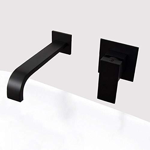WANDOM Miscelatore per acqua a parete in ottone nero opaco e cromato Miscelatore monocomando in ottone di qualità per bagno Rubinetteria calda e fredda nera-Matt_black_plated