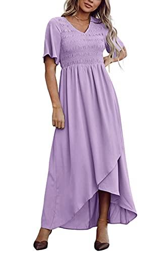 Zattcas Womens Maxi Dress Short Sleeve Casual Summer Smocked Dress Lavender L