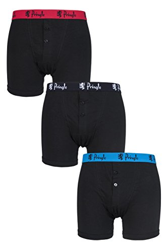 William Boxer Trunks 3 Pack Black With Contrast Waist Band