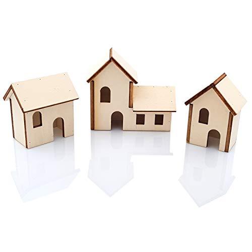 Primolegno Juego de 3 casetas navideñas para belén de madera, juego de 3 modelos diferentes de casa, altura de 6 a 8 cm, decoración navideña
