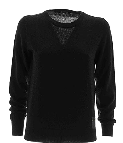Armani Exchange Crewneck Pullover with Eco Leather Patch Milano NY Gold Printed Sudadera, Negro, M para Mujer