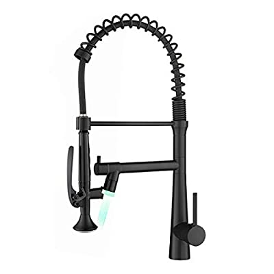 AIMADI Black Kitchen Faucet with Sprayer - Commercial Faucet Kitchen Single Handle Spring Pull Down Kitchen Sink Faucet With LED Light,Matte Black