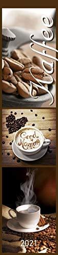 Küchenplaner Kaffee 2021 - Streifen-Kalender 11,3x49x5 cm - Kaffeekalender - mit leckeren Rezepten - Wandplaner - Küchenkalender - Alpha Edition