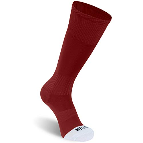 Hissox Red Tube Socks, Mens Womens Knee High Length Breathable Soccer Compression Socks Soft Cushioned Sole Athletic Long Tube Football Game Socks Dark Red,XL