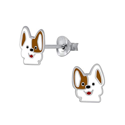 Laimons - Orecchini per bambine e bambini, motivo cane Jack Russell Terrier marrone, bianco, 8 mm, in argento Sterling 925