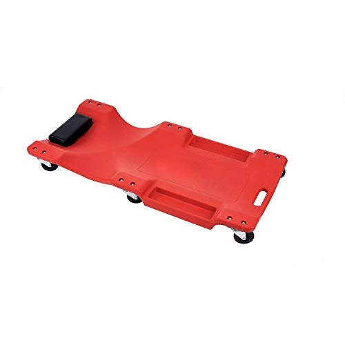 OMAC Auto Accessories Car Mechanic Plastic Creeper | Plow Molded Ergonomic HDPE Body with Padded Headrest & Dual Tool Trays Rotating Wheels Red 330 Lbs