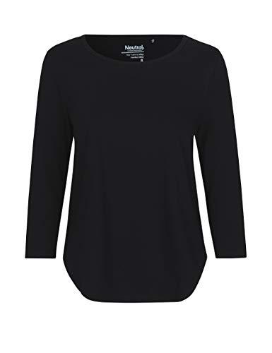 Green Cat- Damen Dreiviertelarm T-Shirt, 100% Bio-Baumwolle. Fairtrade, Oeko-Tex und Ecolabel Zertifiziert, Textilfarbe: schwarz, Gr.: M