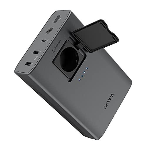 Omars Batterie Externe 88Wh 24000mAh avec Prise de Courant AC 80W 220V,2xUSB 5V/2,4A,Batterie de Secours Chargeur Portable pour Ordinateur Portable Macbook Pro Air Drones Caméra