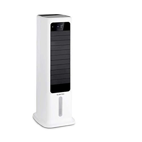 Klarstein Skytower Smart Luftkühler Ventilator Luftreiniger Luftbefeuchter, WLAN-Funktion, App-Control, Luftdurchsatz: 450 m³/h, 60 W, 6 L, 2 x Kühlakku, waagerechte und senkrechte Oszillation, weiß