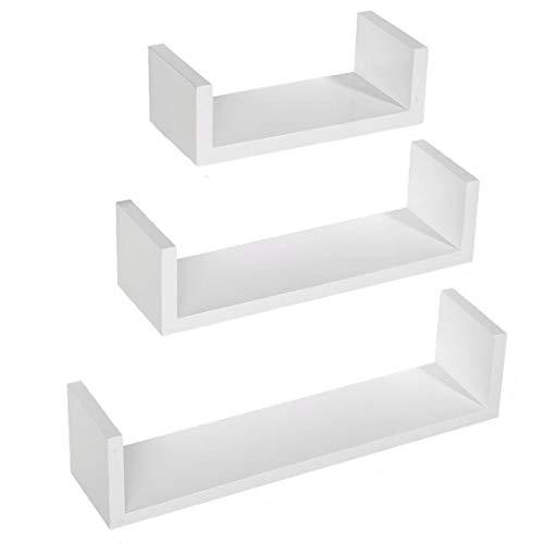 Baldas Pared Blancas Estanterías Pared Estantes Colgantes de Madera para Sala de Estar Dormitorio Oficina Baño Cocina Balcón Habitación