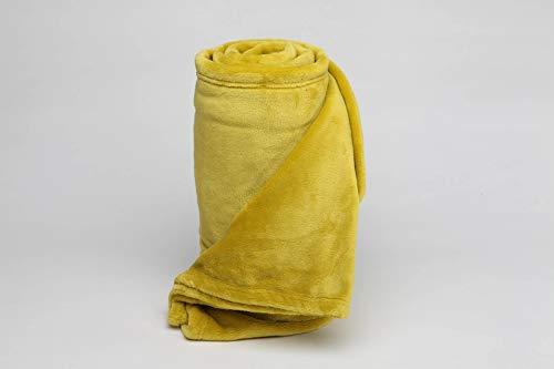 Burrito Blanco Manta Plaid 046 para Sofá o Cama de Nacarina Suave Ligera y Cálida de 130x170 cm, Amarillo Mostaza