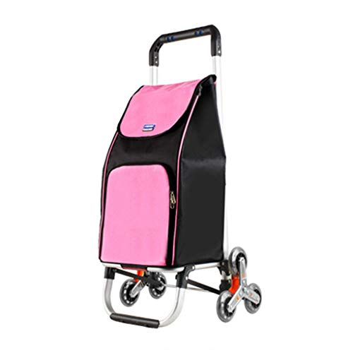 ZYL-YL Folding Trolley Climbing Stairs Shopping Cart Shopping Cart Home Aluminum Alloy Trolley Trailer Best Gift (Color : Pink, Size : 31 21 90CM)
