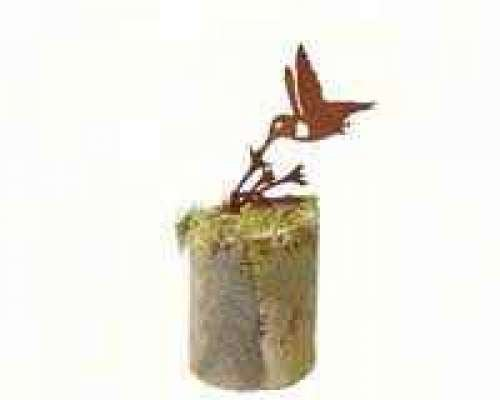 California Home and Garden CH530 Metal Humming Rusty Bird Silhouette, 4 Inch Tall, Rustic Look Artwork, Brownish Red