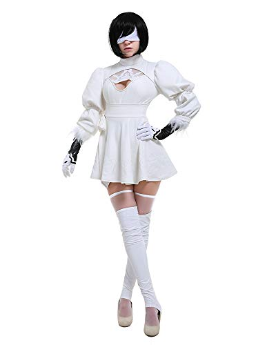 miccostumes Women's White Two-Piece Dress Outfit No 2 Type B Cosplay Costume Leotard Skirt (M, White)