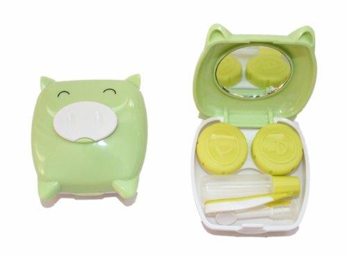 Kontaktlinsenbehälter Aufbewahrungsbehälter Etui Set Spiegel Mini Schwein Hellgrün