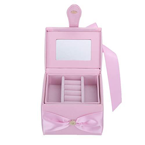 OIHODFHB Caja de almacenamiento portátil rosa de joyería doble capa pendiente collar anillo organizador caso