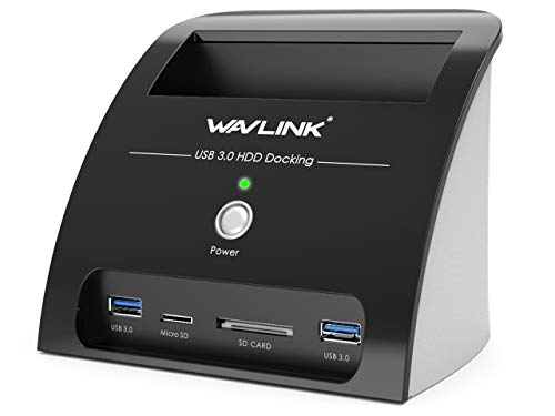 """USB 3.0 to SATA External Hard Drive Docking Station,WAVLINK 2-Port Hub with TF & SD Card Reader for 2.5"""" & 3.5"""" HDD SSD [ Supports UASP & Backup up to 10TB]"""