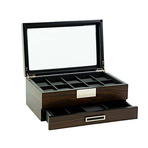 Decorebay Executive Wooden Watch Box Valet Box Sunglasses and Jewelry Box Storage Organizer (Sweetheart) (Brown)