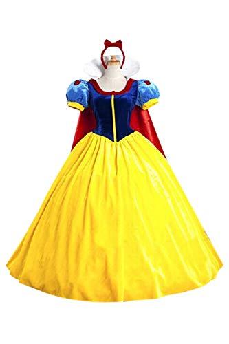 Zamtapary Mujeres Snow White Disfraz Navidad Halloween Cosplay con Heandwear Amarillo XL