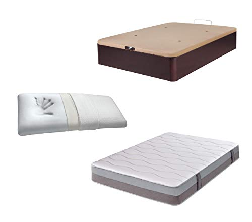 DHOME Pack Canape abatible tapizado 3D Madera + Colchón viscografeno, Reversible mas Almohada viscoelastica (135x180 Wengué, 30mm + Colchón + Almohada Viscoelástica)