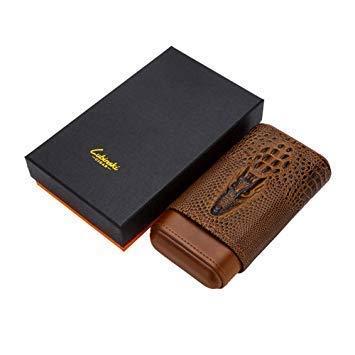 CLJ-LJ Portátil de viaje caja de cigarrillos puede sostener 3 cigarro cigarros TubeCedar madera Forro cuero de gama alta de los hombres de la caja de regalo ble for la oficina de Nueva clásica humidif