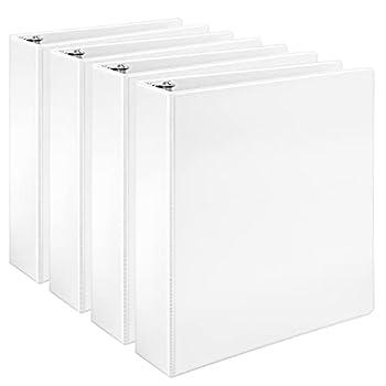 Amazon Basics Economy 3 Ring Binder Showcase View Binder with 2 Inch D-Ring White 4-Pack