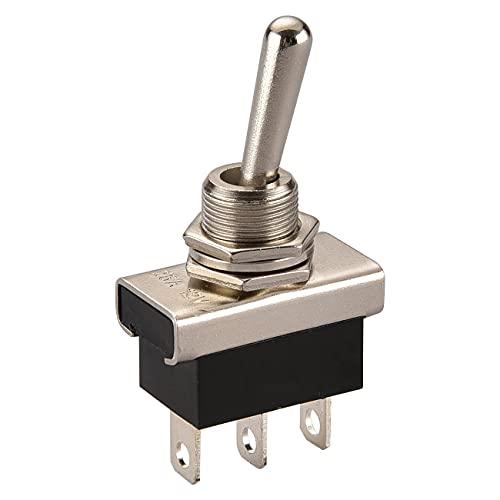 Heschen Kippschalter aus Metall, 12 V, 25 A, SPDT, Ein/Ein, 2-polig, 3 Kontakte für Armaturenbeleuchtung
