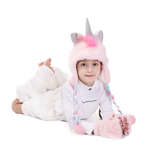 Sombreros con capucha de piel sintética de unicornio para niñas con guantes Bolsas de regalo como cumpleaños, premio, Halloween y para la fotografía de Beanie Cosplay Rosa