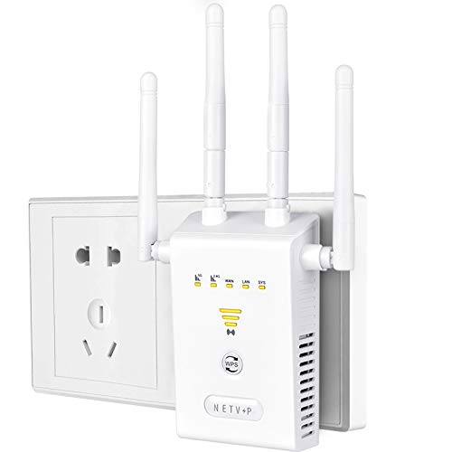 NETVIP Dual Band WiFi Range Extender 1200Mbps- Internet Booster Signal Amplifier with WPS Function, 5G&2.4Ghz Wireless Signal Repeater for Any Router/Modem/Hotspot, Easy to Setup