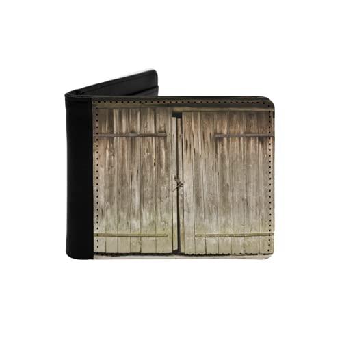 Cartera Delgada de Cuero para Hombre,Puerta de Madera marrón Vintage Bloqueada,Cartera Minimalista con Bolsillo Frontal Plegable
