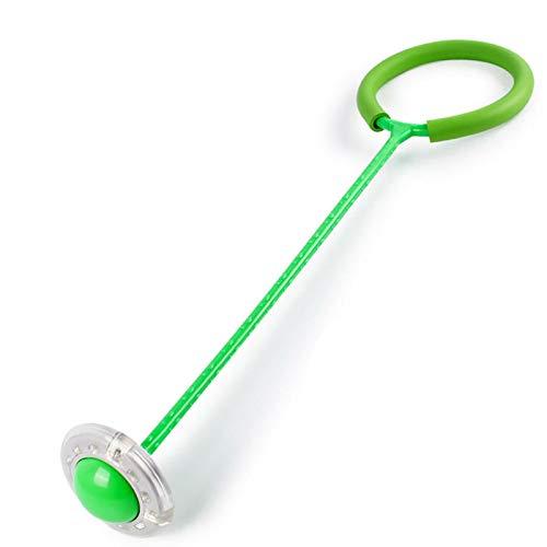 BAWAQAF Bola de salto luminosa, bola de salto de cuerda intermitente de un pie, colorida bola de salto de tobillo, deportes de fitness swing de juguete