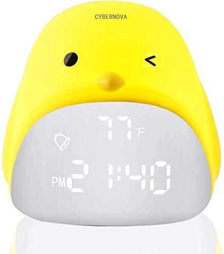 CYBERNOVA Orologio sveglia digitale per ragazze, orologio da notte per bambini, orologio da camera con caricatore USB, touch control