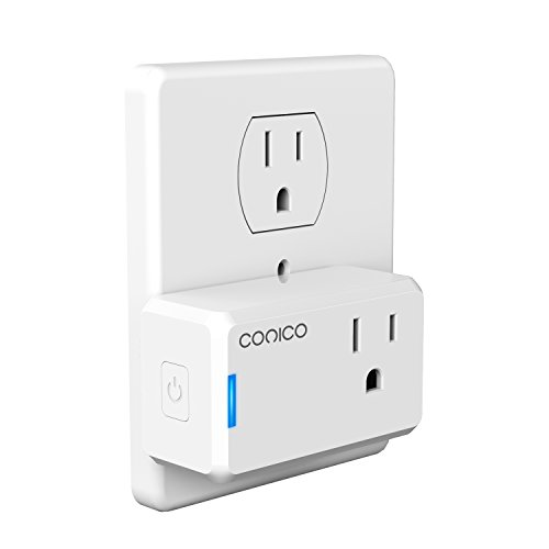 WiFi Smart Plug, Conico Mini WiFi Smart Outlet Wireless Power Socket Remote Control Timer Plug Control Switch Compatible with Alexa, No Hub Required, Voice Control by Echo,US Plug Home Device (1 pack)