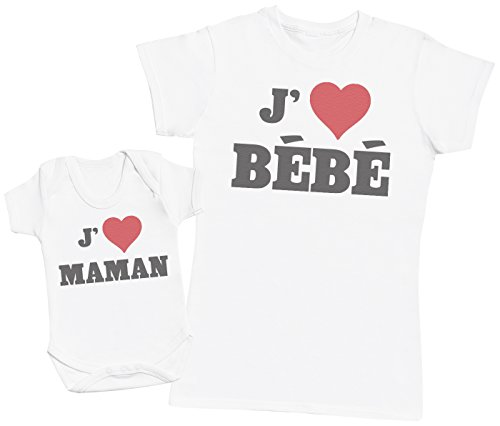 Zarlivia Clothing Love Bébé & Love Maman - Ensemble Mère Bébé Cadeau - Femme T Shirt & bébé Bodys - Blanc - S & 0-3 Mois