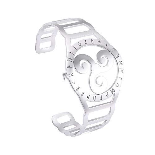 LUSSO Pulsera de acero inoxidable con símbolo nórdico vikingo triskele valknut, amuleto de joyería de regalo para mujeres y hombres plateado