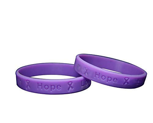 Fundraising For A Cause   Purple Epilepsy Awareness Bracelets – Purple Ribbon Epilepsy Awareness Silicone Bracelets for Adults (Pack of 50)