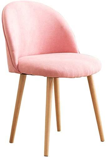 LMDC Kosmetiktisch Hocker Makeup Kosmetiktisch Hocker Thick Bank-Stuhl, Frühstück Küche Hocker Dining Chair, Gummi Holz Beine (Color : Pink)