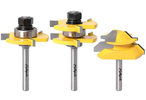 Tongue and Groove Router Bit Set, SellyOak 1/4 Shank Tongue and Groove Router Bits + 1/4 Shank 45° Lock Miter Router Bit(1/2 Inch Stock) on Router Table/Base Router etc.