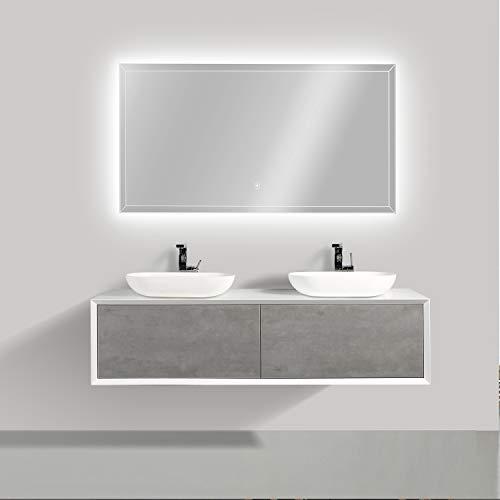 Badmöbel Fiona 1600 Weiß matt - Front in Beton-Optik - Spiegel:Mit LED-Spiegel 2073, Zusätzl. Blende für Ablaufgarnitur:ohne zusätzl. Blende, Auswahl Waschbecken:Ohne Waschbecken