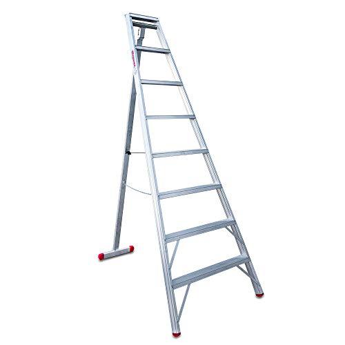 Faraone - Escalera de Aluminio - Banco Agrícola T 708-261 x 93 x 10 cm - Banco Agrícola 3 Patas - 8 peldaños - Peldaños Antideslizantes - Ideal para Terrenos Irregulares