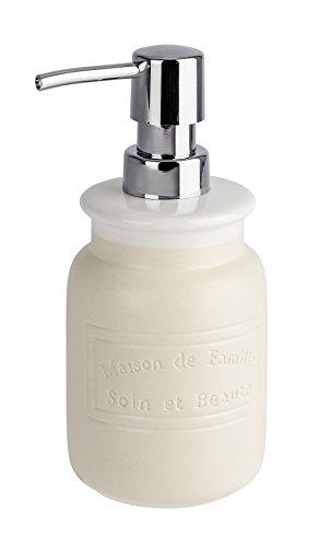 WENKO 22636100 Seifenspender Maison, Flüssigseifen-Spender, Spülmittel-Spender Fassungsvermögen: 0,42 l, Keramik, 8 x 17,5 x 9 cm, creme