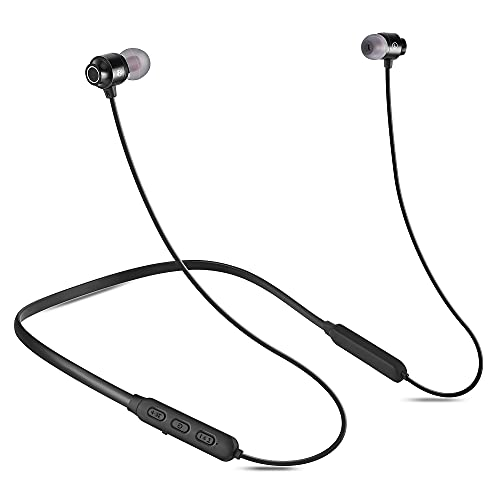 Bluetooth Headphones v5.1 Magnetic Neckband Earbuds with Microphone Auto Pairing 20H Playtime HD Sound Stereo Bass Sweatproof (Black)