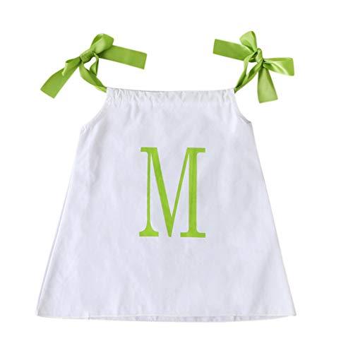 Janly Vendita di Liquidazione Ragazze Vestito per 0-10 Anni, Bambino Bambina Lettera Stampa Cinghie Bretella Vestiti Vestiti Abiti, bianco, 3-4 anni