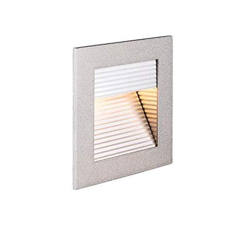 SLV LED Einbauleuchte Frame Curve   Wand- und Deckenleuchte für den Einbau   Eckig, Silber, 2700K Warmweiß   Stilvolle Wandleuchte, Einbau-Strahler LED Treppen-Beleuchtung, Stufen-Licht, Treppenlicht