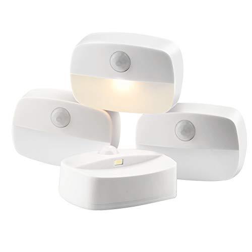 luz de Noche, COOLAPA Luz Nocturna LED con Sensor de Movimiento, Blanco cálido,Funcionan con Pilas, Adecuada para Dormitorio, Habitación Bebé, Ba?o, Inodoro, Escaleras, Cocina, Pasillo (4)