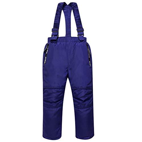 Skibroek, kinderen, tuinbroek voor jongens, meisjes, sneeuwbroek van dons, sneeuwbestendig, twee zakken, afneembare schouderriemen, versterkte knie, enkelopening, 3 - 8 jaar 140 / 7-8 ans (125-135cm) Blauw