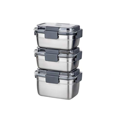 INCOC STENMORE Stainless Steel Food Storage Container BPA Free Antibacterial Stackable Food Storage Kitchen Container Set 500ml x2  700ml x1 3 Packs
