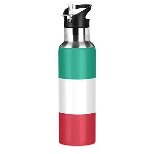 Kuwait Flag Sport Botella de agua de acero inoxidable 304, botella de agua aislada al vacío con pajita (600 ml)