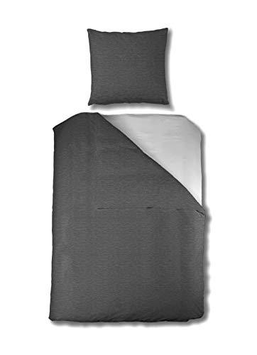 Aminata-Home – Premium Bettwäsche Jersey 135x200 cm + 80x80 cm - Grau Anthrazit - Bügelfrei - Damen, Männer, mit Reißverschluss - Uni-Farben-Motiv, einfarbig - weich & kuschelig